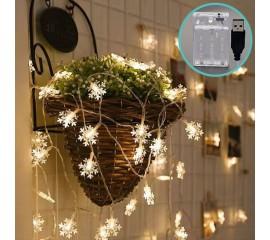 "Гирлянда ""Снежинки"", 80 светодиодов, 10 м, теплый белый, 2 режима, батарейки / USB"