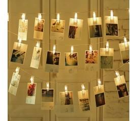 "LED гирлянда ""прищепки"" - теплый белый 35 ламп, 5 м, usb"