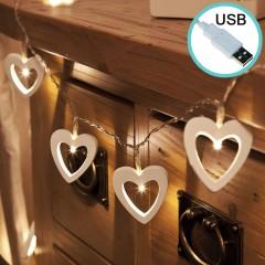"""Светодиодная гирлянда """"Деревянные сердца"""", 20 ламп, 3 м. USB"""
