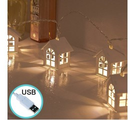 """Гирлянда """"Домики деревянные"""" 10 ламп 1,5 м, теплый белый, USB, 8 режимов"""