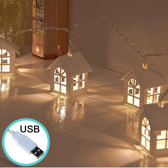 """Гирлянда """"Домики деревянные"""" теплый белый, 20 ламп, 3 м. USB - 8 режимов"""