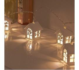 """Гирлянда """"Домики деревянные"""" теплый белый, 20 ламп, 3 м. - 8 режимов, батарейки + микро USB"""