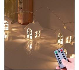 "Гирлянда ""Домики деревянные"" 20 ламп, 3 м. пульт ДУ,  8 режимов, батарейки / micro USB"