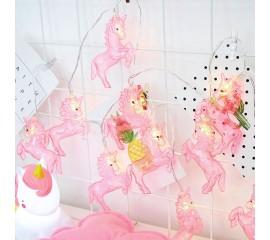 """Гирлянда """"Единорожки розовые"""" 10 ламп, 1,5 м, теплый белый"""