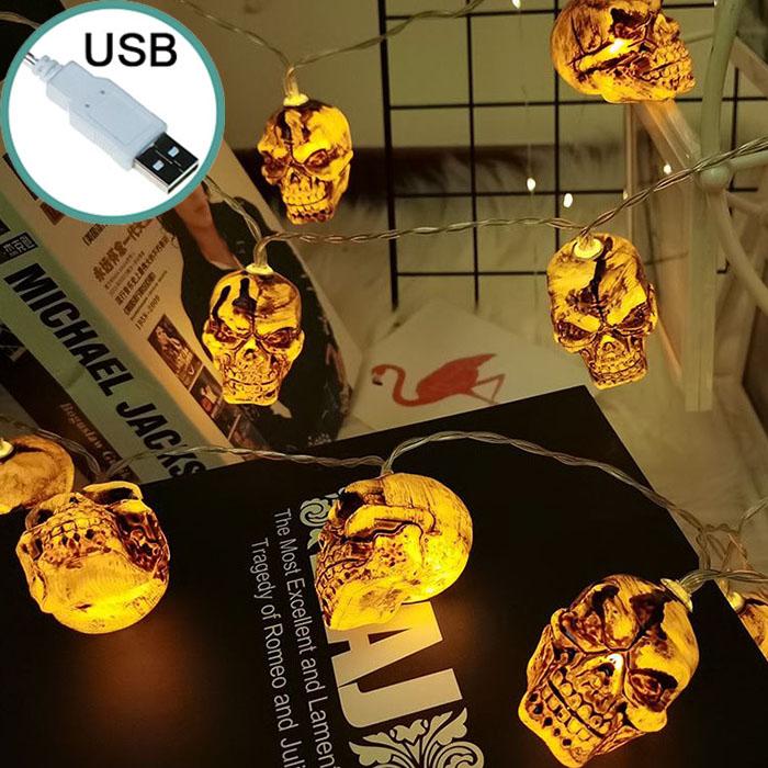 "Гирлянда на Хэллоуин ""Черепа коричневые"", 3 м. 20 led, теплый белый, usb"