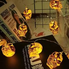 "Гирлянда на Хэллоуин ""Черепа коричневые"", 3 м. 20 led, теплый белый, на батарейках"