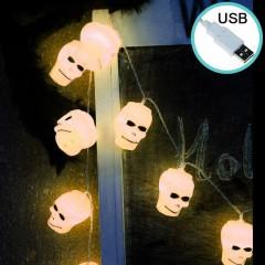 """Гирлянда на Хэллоуин """"Черепа белые"""", 3 м. 20 led, теплый белый, usb"""