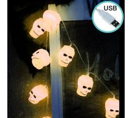 """Гирлянда на Хэллоуин """"Черепа белые"""", 1,5 м. 10 led, теплый белый, usb"""