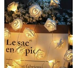"""Светодиодная гирлянда """"Латексные цветочки - белые"""", 10 ламп, 1,5 метра, теплый свет"""
