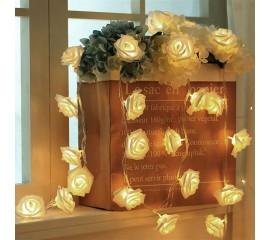 """Светодиодная гирлянда """"Латексные цветочки - белые"""", 20 ламп, 3 метра, теплый свет"""