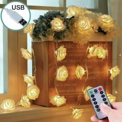 """Светодиодная гирлянда """"Латексные цветочки - белые"""", 35 ламп, 5 метров, пульт ДУ, USB, теплый свет"""
