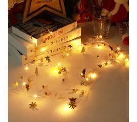 "Светодиодная гирлянда ""Бубенчики, елочки, снежинки, звездочки"" 2 м, 20 ламп"