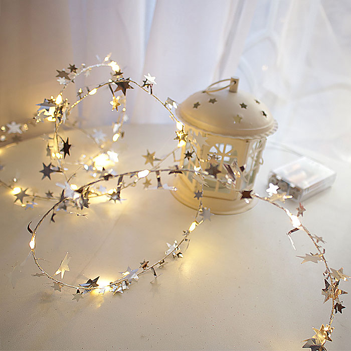 """Гирлянда """"Серебрянные звездочки"""", 50 ламп, 5 метров"""