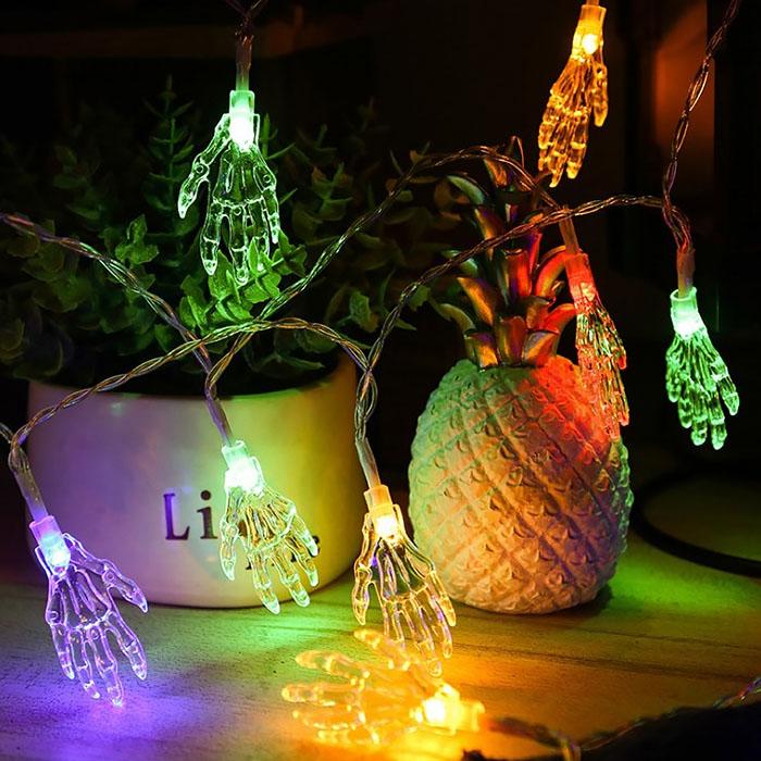 """Гирлянда  на Хэллоуин """"Кисть скелета"""", 3 м. 20 led, цветная, на батарейках"""