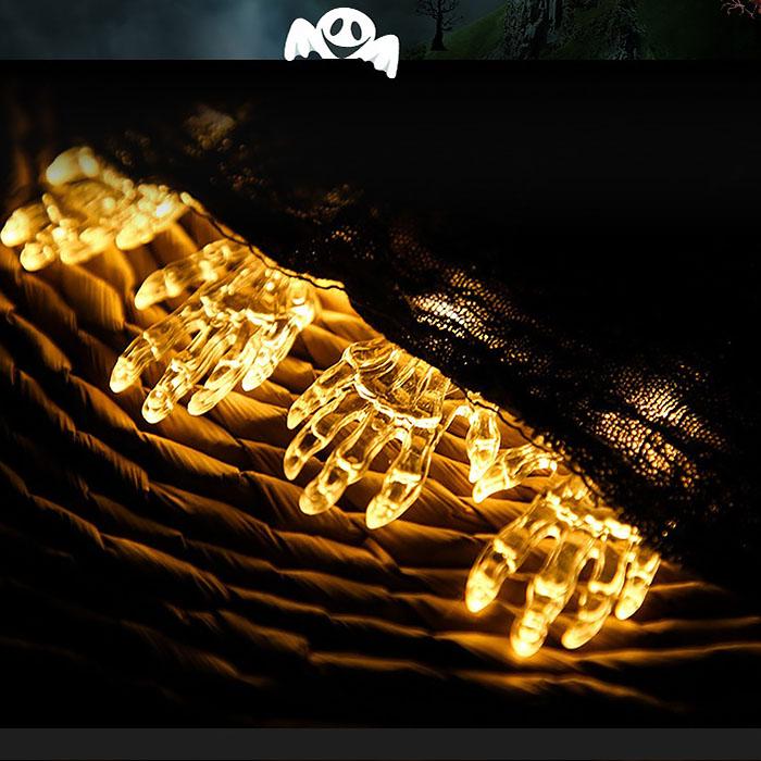 "Гирлянда на Хэллоуин ""Кисть скелета"", 1,5 м. 10 led, теплый белый, на батарейках"