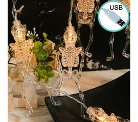 "Светодиодная гирлянда ""Скелеты"", 10 ламп, 1,5 м, USB"