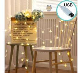 """Светодиодная гирлянда """"Звездочки"""", 20 ламп, 3 м, теплый белый - USB"""