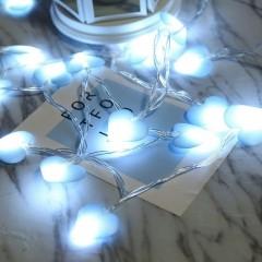 "LED гирлянда ""Сердечки голубые"" 80 ламп 10 м теплый-белый"