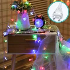 """Гирлянда """"Снежинки"""", 50 светодиодов, 5 м, 8 режимов, цветная, от сети"""