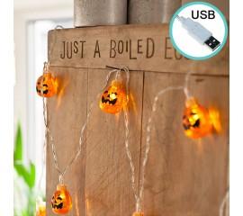 """Светодиодная гирлянда """"Тыквы Хэллоуин"""", 10 ламп, 1,5 м, USB"""