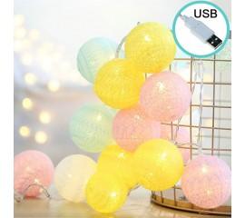 """Гирлянда """"Тайские шарики"""" 20 ламп 3 м, USB - 20024-2"""