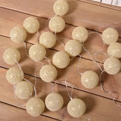 """Гирлянда """"Хлопковые шарики- золотые"""" 20 ламп, 3 метра"""