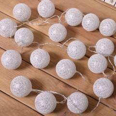 """Гирлянда """"Хлопковые шарики- серебряные"""" 20 ламп, 3 метра"""