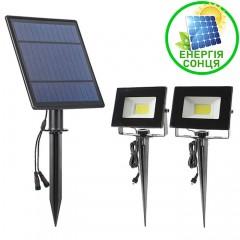 Два сплит-прожектора на сонячній батареї СОВ, 2х6W, теплий білий