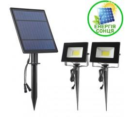 Два cплит-прожектора на солнечной батарее СОВ, 6W, теплый белый