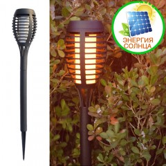 """Газонный светильник """"Факел"""" 12 led, с реалистичным эффектом пламени, на солнечной батарее"""