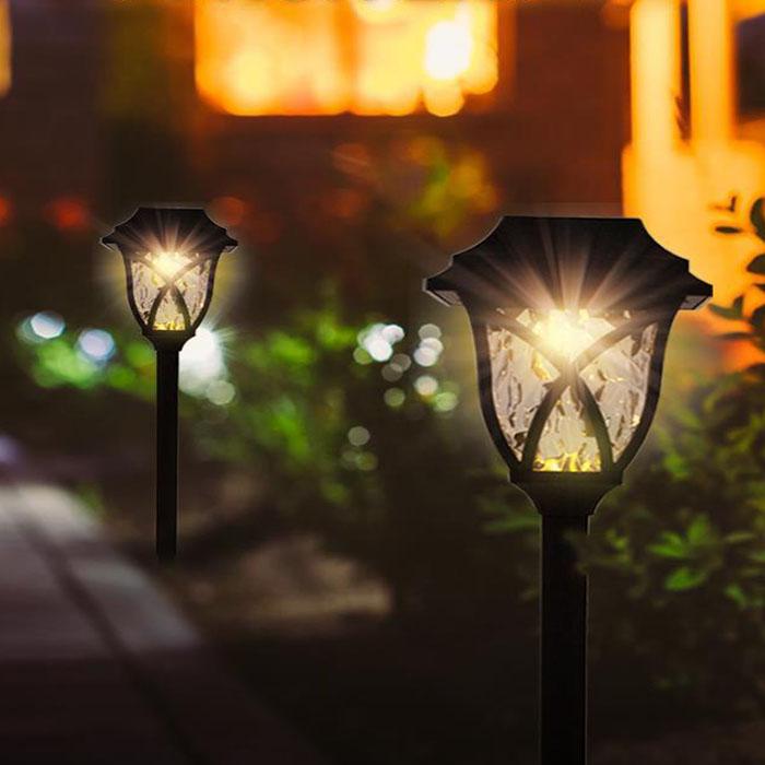 Газонные светодиодные фонарики (набор из 2-х шт, на солнечной батарее