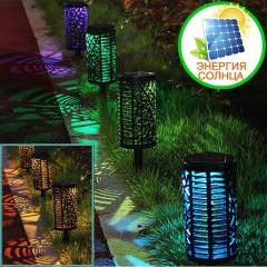 Газонний світильник на сонячній батареї, 2 режими світла - RGB + теплий білий