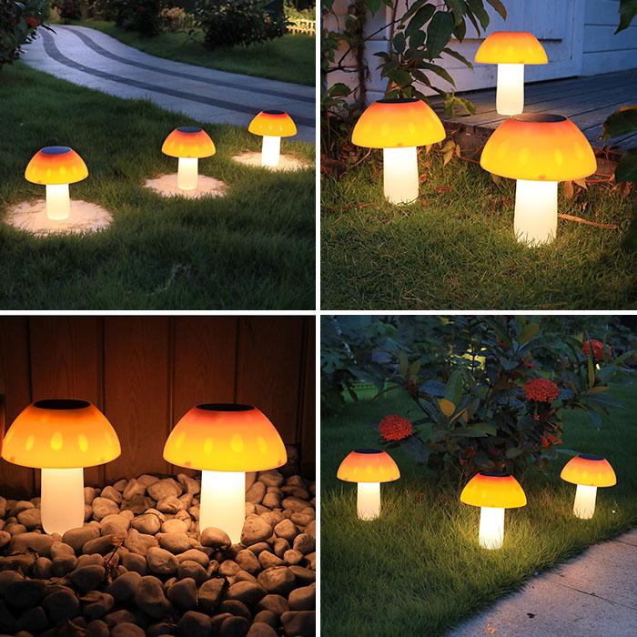 """Газонный светильник """"Оранжевый гриб"""", на солнечной батарее, 20LED, 3 уровня яркости"""