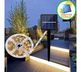 Светодиодная лента на солнечной батарее, 3 м, 90led, 7 режимов, теплый белый