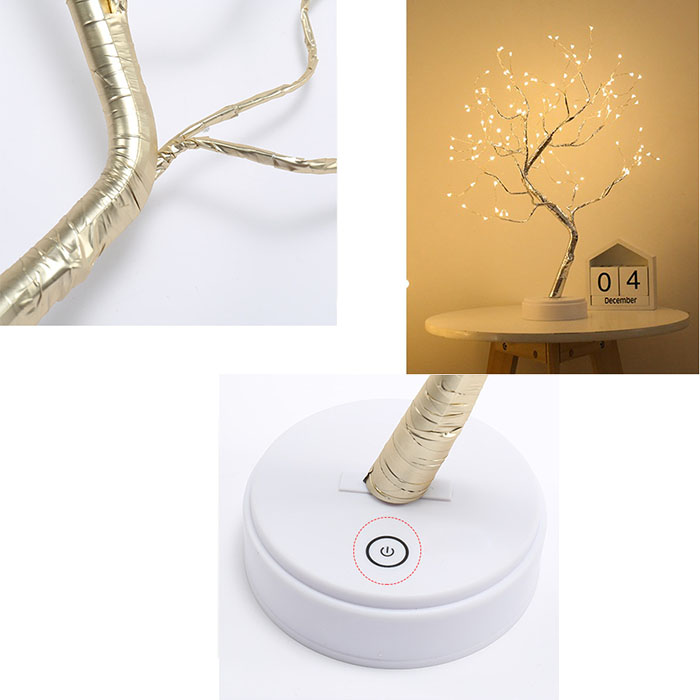 "Деревце со светодиодами ""Роcа"", 50 см, теплый белый, батарейки/usb"