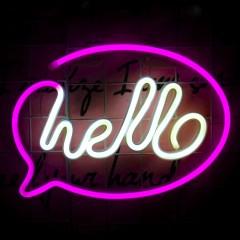"Настенный LED декор ""Неон  - hello"", батарейки / USB"