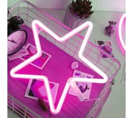 """Светодиодный ночник """"Неоновая звезда розовая"""", usb / батарейки"""