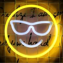 """Світлодіодний декор """"Неоновий смайлик"""", 27 см."""