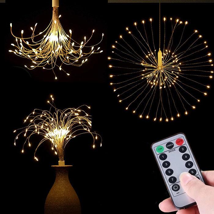 """Подвесной LED декор """"Мерцающие лучи"""" 120 л, 60 линий, USB, теплый-белый"""