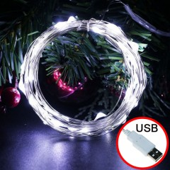 LED нить - 20 м 200 ламп, холодный белый, USB
