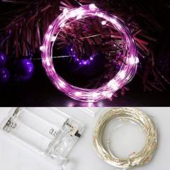 Светодиодная нить 100 л. 10 м. - розовый, на батарейках АА