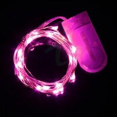 Светодиодная нить 20 л. 2м. розовый +2 батарейки