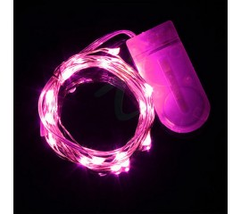 Светодиодная нить 10 л. 1м. розовый + 2 батарейки