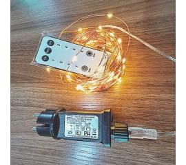 Светодиодная нить с блоком питания - 31V, 500 led, 50 м, с пультом ДУ, теплый белый