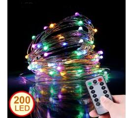 LED нить с пультом д/у - 20 м 200 ламп, цветная, USB
