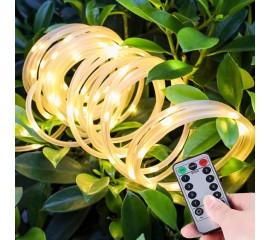 LED нить в ПВХ трубке, 50 л. 7 м. USB, 8 режимов, теплый  белый