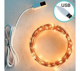 Светодиодная нить, USB, 3 линии, 200 led, 20 м, теплый белый + usb адаптер