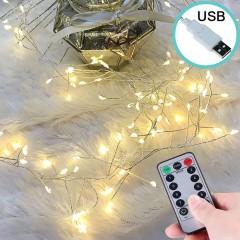 """Светодиодная гирлянда """"Сороконожка"""", 120 ламп, пульт ДУ, теплый белый, USB"""