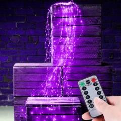 Свисающие led нити с пультом ДУ, на батарейках (4АА). 200 led, 10 линий по 2м,  8 режимов, фиолетовый