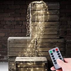 Свисающие led нити с пультом ДУ, USB, 200 led, 10 линий по 2м, 8 режимов, холодный белый